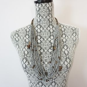 Vintage India Grey Seed Bead Multi Strand Necklace